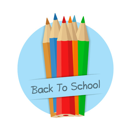 baner: Back to school baner with colored pencils