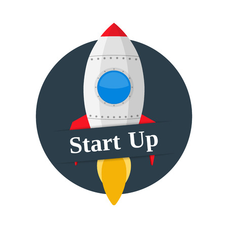 Start Up banner with space rocket Vector
