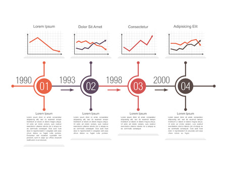 financial year: Tempate of a business timeline design with different line charts Illustration