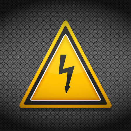 no entry sign: High voltage sign on dark background Illustration
