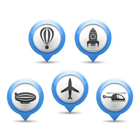 Map markers with air transport icons Vector