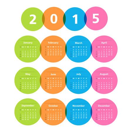 2015 Calendar in circles Vector