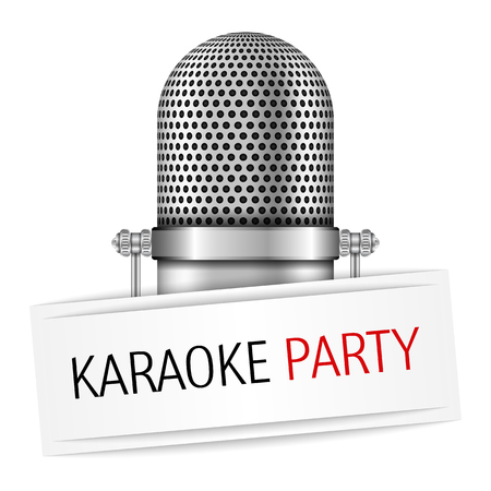 Microphone with karaoke party banner Vector