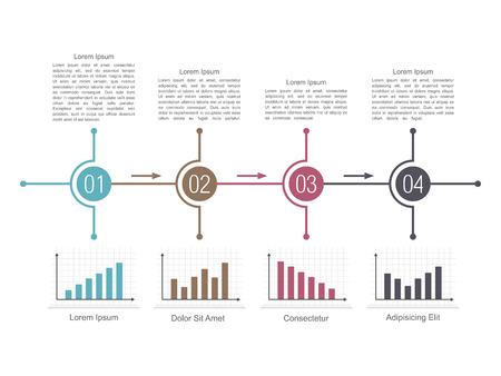 cuatro elementos: Plantilla de diseño de diagrama con cuatro pasos y diferentes gráficos de barras Vectores