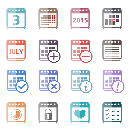 Colored calendar icons Vector