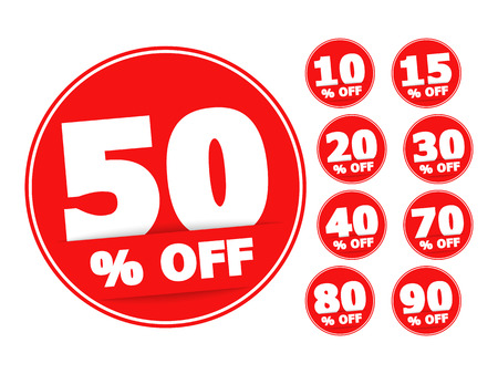 Red round discount labels set