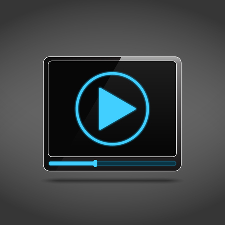 hd video: Video player icon with play button and progress bar