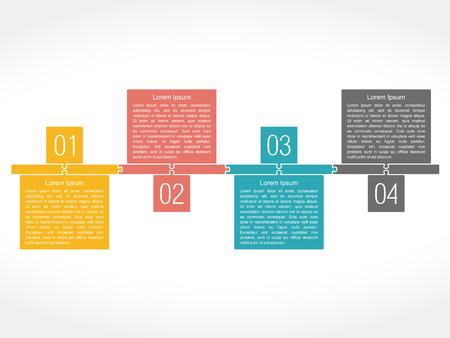 Ontwerp sjabloon met vier elementen, puzzel stijl
