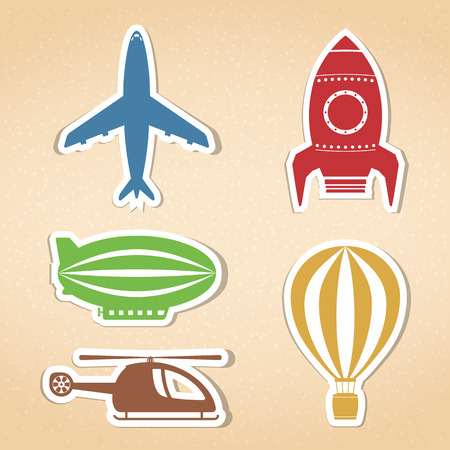 Colored air transport icons set Vector