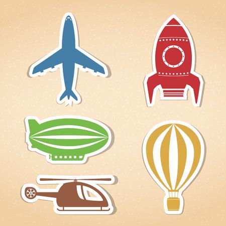aerodynamics: Colored air transport icons set