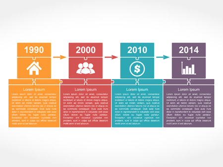 Infographics timeline design template with place for dates, icons and text, puzzle style, vector illustration