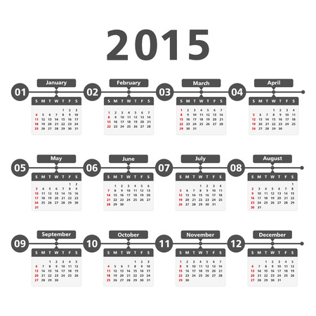 2015 Calendar, vector illustration Vector
