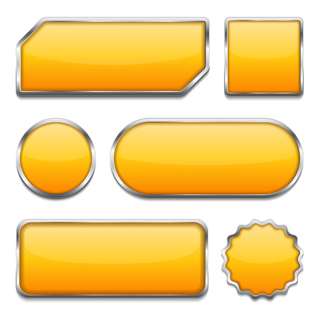 Set of different orange buttons on white background Vector