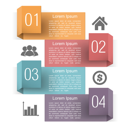 Infographics design template with four origami banners with place for text, numbers and icons Vector