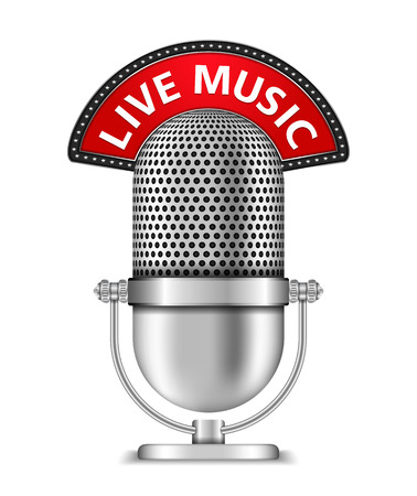 live on air: Microphone with live music banner