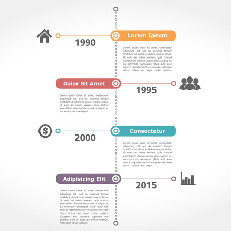 Infographics timeline template, flat design Vector