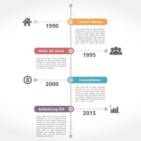 Infographics timeline template, flat design