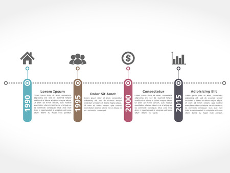 Horiztonal timeline design templatetration Vector