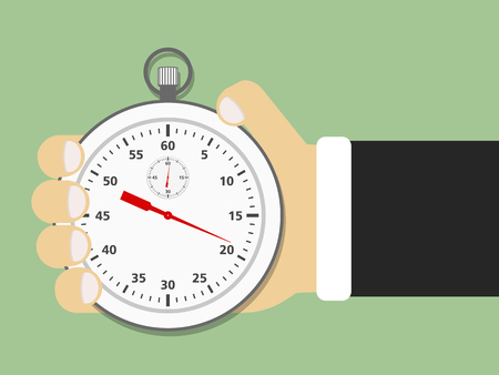 second hand: Hand holding stopwatch, flat design Illustration