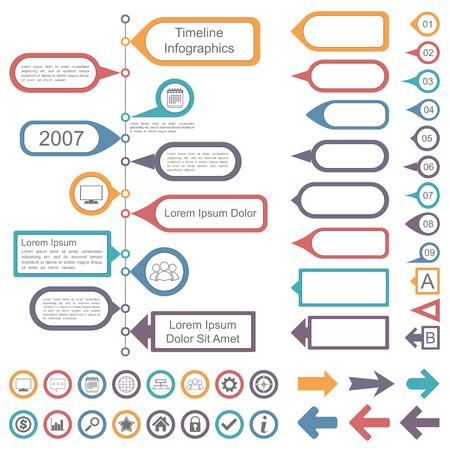 proceso: Colecci�n infograf�as elementos de l�nea de tiempo