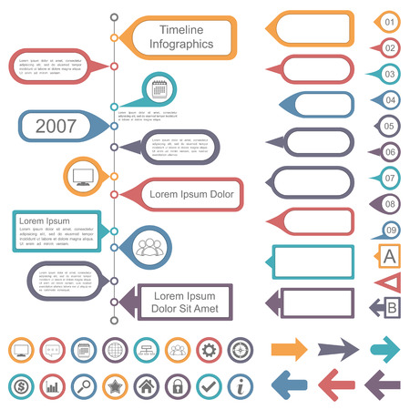 Timeline infographics elements collection Çizim