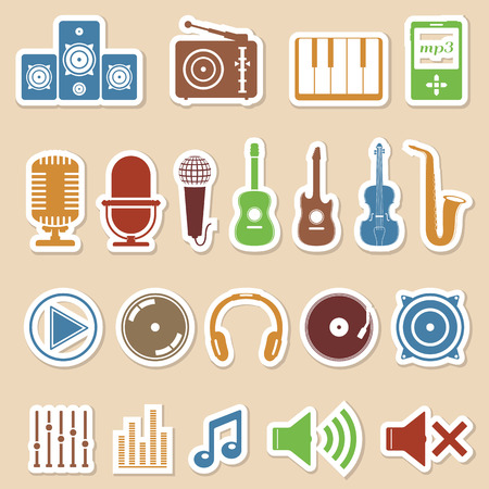 guitar tuner: Colored music icons