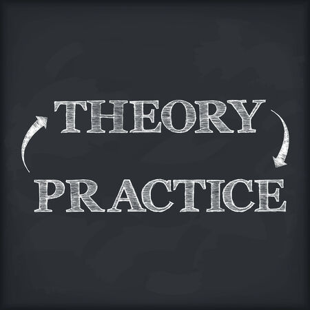 Theory - practice diagram on blackboard Vector