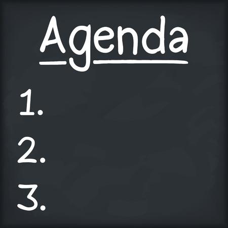 prioridades: Agenda escrito en la pizarra
