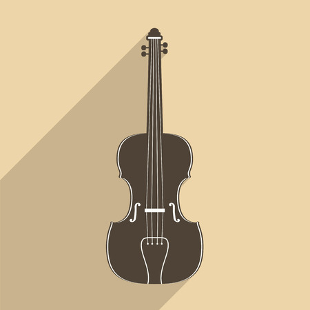 violin: Violin icon with long shadow, flat design