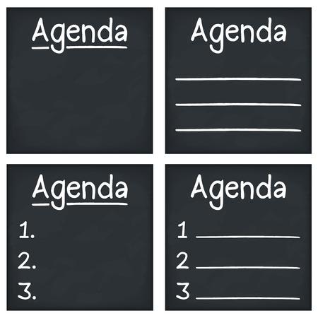 syllabus: Agenda written on blackboard, vector eps10 illustration