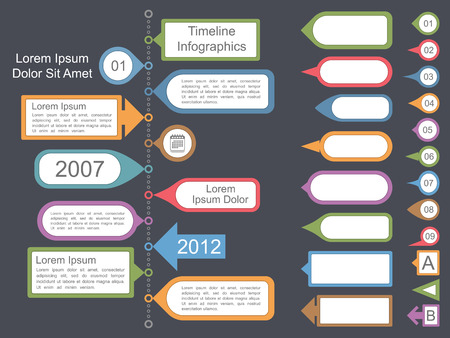 Timeline infographics template with different elements for your text, vector eps10 illustration Vector