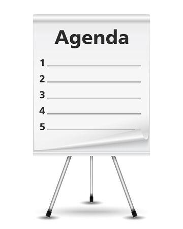 flipchart: Agenda written on flipchart