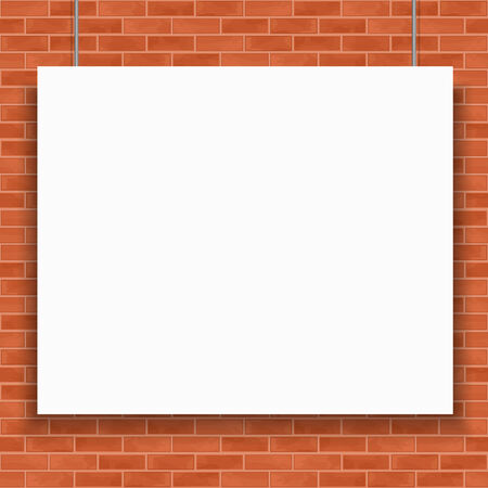 Blank white banner hanging in front of brick wall Vector
