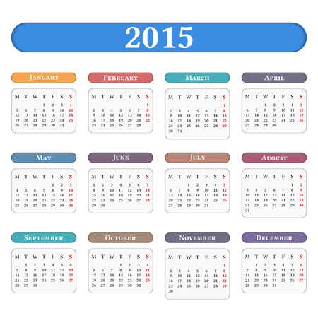 2015 Calendar on white background Vector