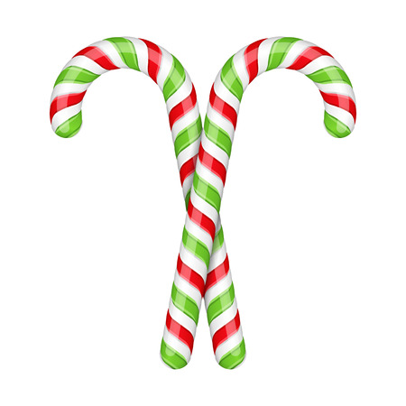 Two candy canes on white background Vector