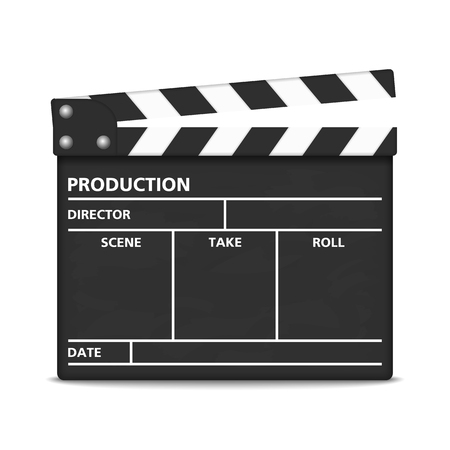 movie clapper: Clapper board on white background