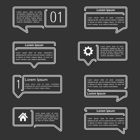 Line speech bubbles with place for your icons and text Vector
