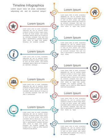 lineas verticales: Plantilla infografía línea de tiempo con nueve elementos