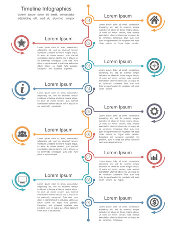 Timeline infographics template with nine elements