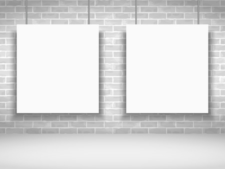 Two blank white frames on brick wall Vector