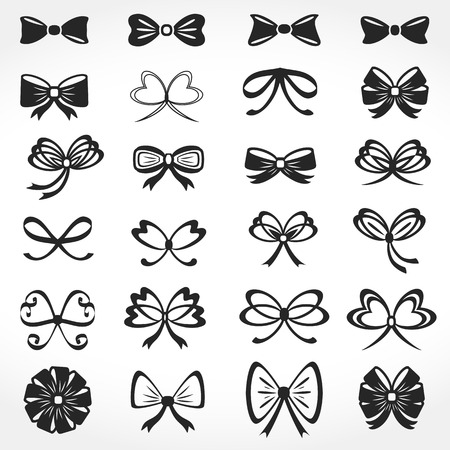 black ribbon bow: Bows Icons