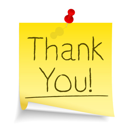 postit note: Words Thank You written on yellow sticky note with curl attached by a push pin Illustration