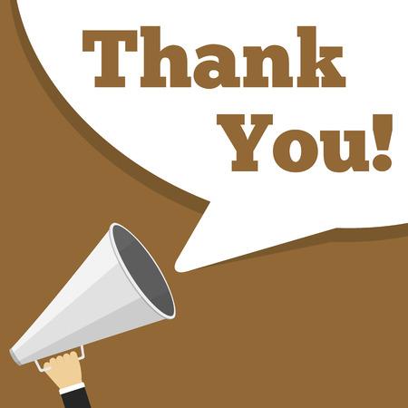 手の言葉ありがとうございます、フラットなデザインのメガホンと音声バブル