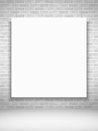 blank poster: Blank poster on brick wall Illustration