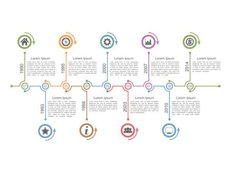 Infografía plantilla de diseño de línea de tiempo