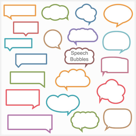 website words: Set of different speech bubbles