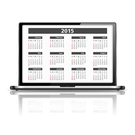 laptop screen: 2015 Calendar on the screen of laptop