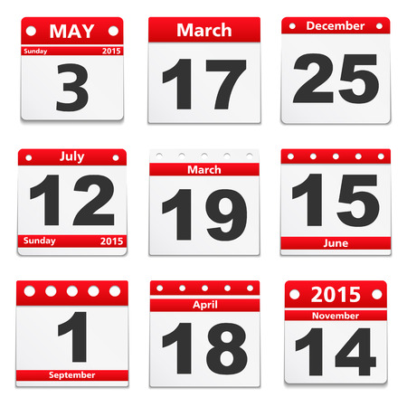 Set of different calendar pages on white background Vector
