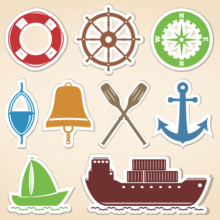 Nautical icons, colored stickers style Vector