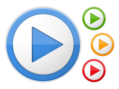 blue button: Play buttons, four colors Illustration